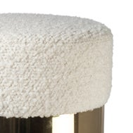 Pair of French White Wool Bouclé and Brass Poufs For Sale - Image 4 of 5