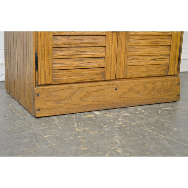 Black Brandt Ranch Oak Tall Narrow Bookcase Cabinet w/ Drawer & Doors For Sale - Image 8 of 12