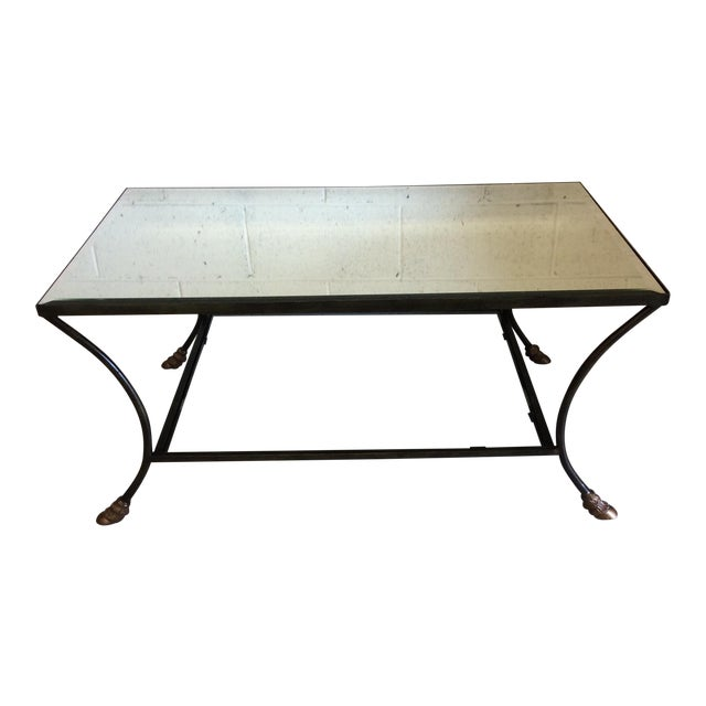 Rectangular Mirror Top Iron Coffee Table with Brass Hoof Feet For Sale
