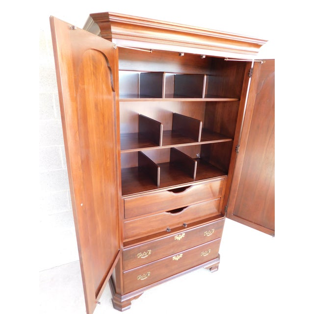 Late 20th Century Ethan Allen Georgian Court Cherry Armoire / Chest 11-5245 For Sale - Image 5 of 13