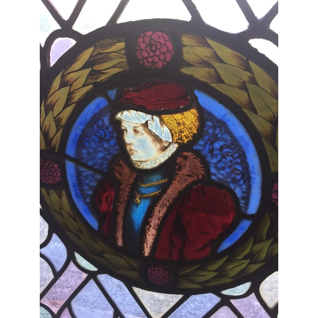 Arts & Crafts Antique Gothic Stained Glass Panels- a Pair For Sale - Image 3 of 12