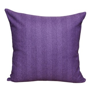 FirmaMenta Eco-Friendly Purple Herringbone Wool Pillow For Sale