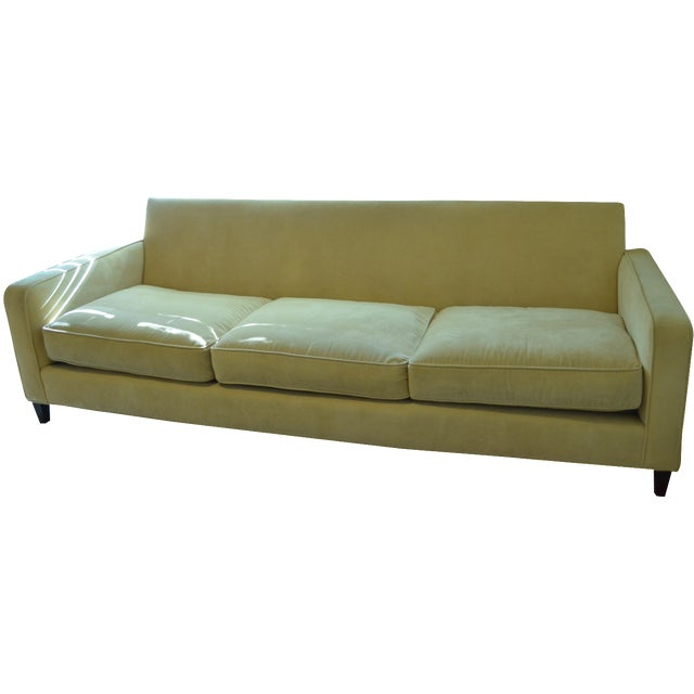 Ballard Designs Queens Velvet Yellow Vintage Sofa - Image 1 of 6