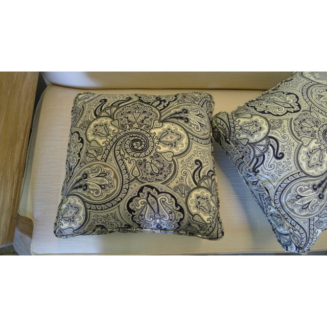 Textile Contemporary Cotton Paisley Black and White Pillows - a Pair For Sale - Image 7 of 8
