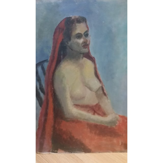 Nude Oil on Board Painting, 1940s - Image 2 of 8