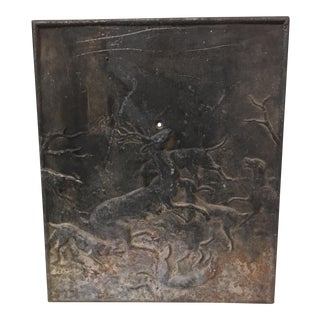 Large French Cast Iron Fireplace Back With Hunting Scene
