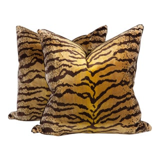 Velvet and Silk Tiger Pattern Pillows, a Pair For Sale