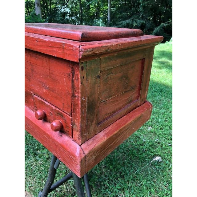 19th Century Primitive Carpenters Painted Chest/Box For Sale - Image 4 of 10