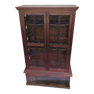 Vintage Mediterranean Wood & Scrolled Wrought Iron 2-Piece Cabinet For Sale