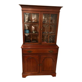 1970s Traditional Pennsylvania House Vintage Cherry China Cabinet For Sale