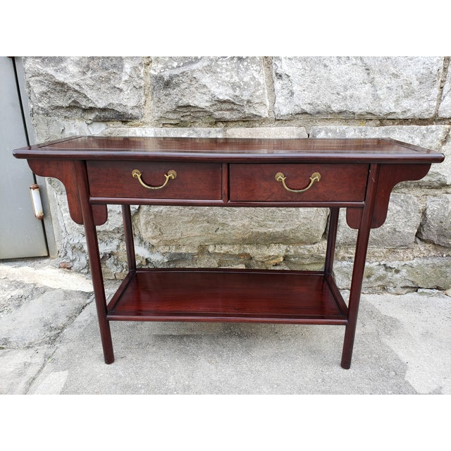 Asian Vintage Asian Rosewood Console Table For Sale - Image 3 of 13
