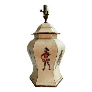 Tole Temple Painted Jar Lamp