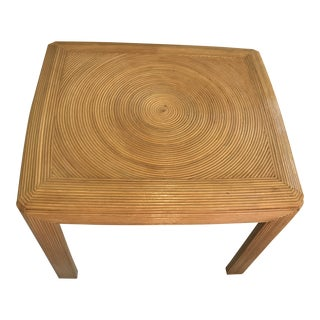 Vintage Pencil Reed Gabriella Crespi Style Swirl Side Table For Sale