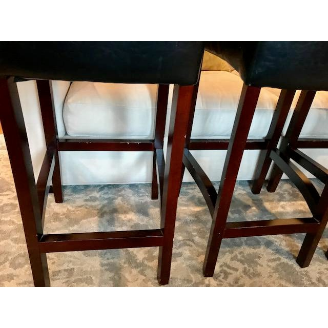 Top-Grain Leather Bar Stools, Classic and Clean-Lined - Set of 4 - Image 6 of 11