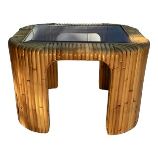 Mid Century Bamboo Side Table For Sale