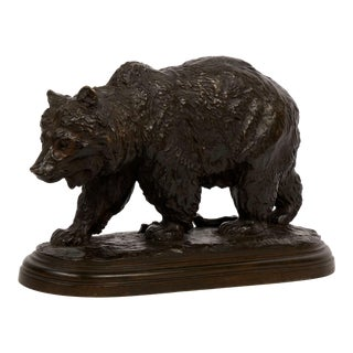 """Walking Bear"" French Antique Bronze Sculpture by Isidore Bonheur For Sale"