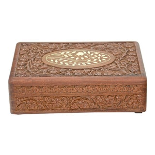 Vintage Mid-Century Inlaid Bone & Carved Wood Box For Sale