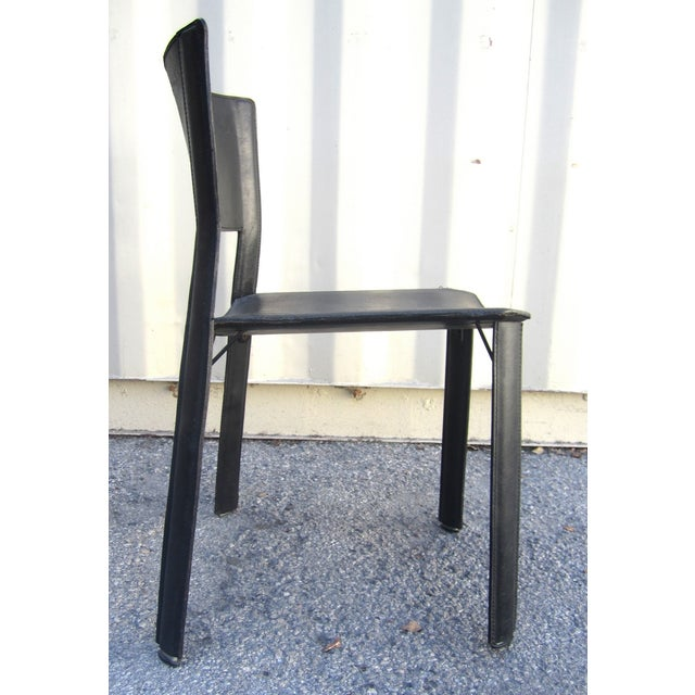 Black Leather Dining Chairs - Set of 4 - Image 4 of 6