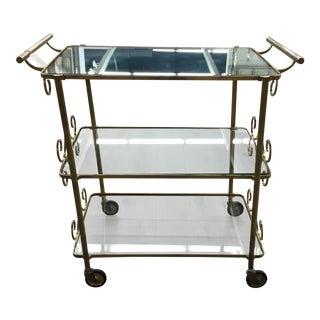 1950s Vintage Brass Bar Cart For Sale