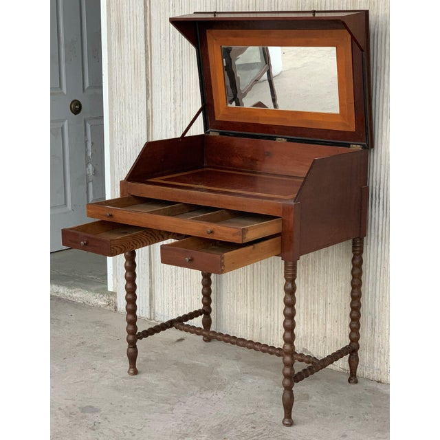 Brown 19th Rosewood Art Deco Open Up Vanity or Secretary Desk. Dressing Table For Sale - Image 8 of 11