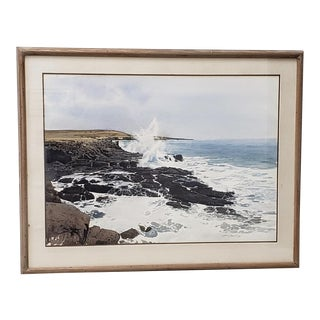 Merv Corning (1926-2006) Rocky Coastal Landscape Watercolor For Sale
