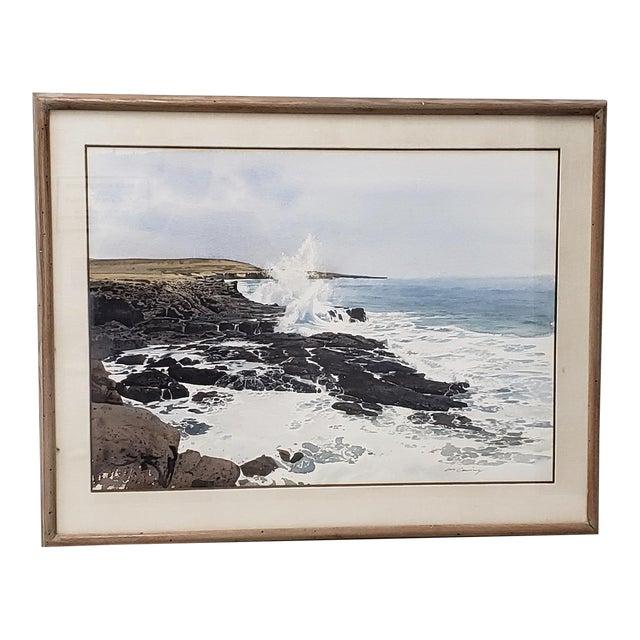 Merv Corning (1926-2006) Rocky Coastal Landscape Watercolor For Sale