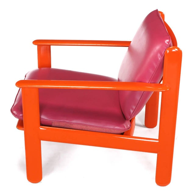 Pair of Italian Persimmon and Magenta Lounge Chairs For Sale In Chicago - Image 6 of 10