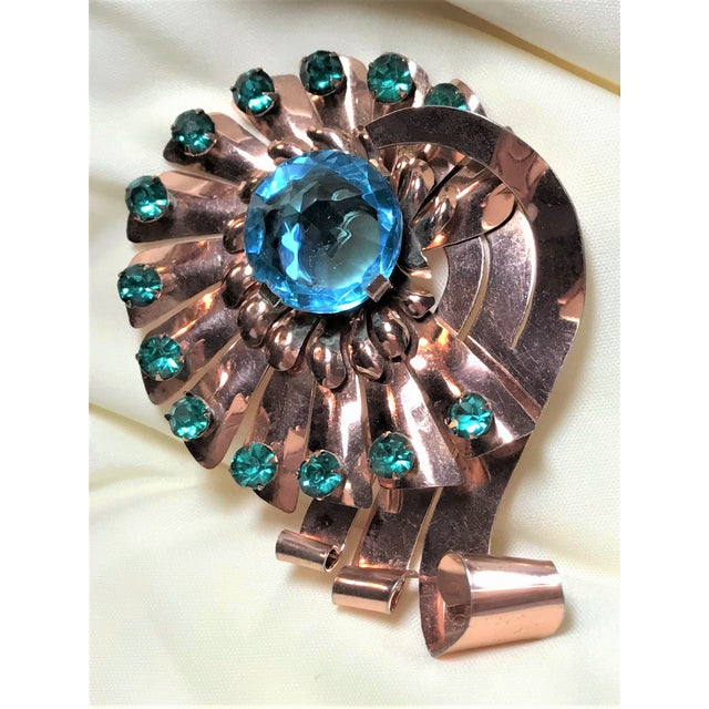 Mid-Century Modern 1940s Vintage Rose-Gold Plated Sterling Brooch For Sale - Image 3 of 8