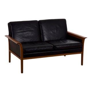 Circa 1960s Hans Olsen Mid Century Modern Leather Loveseat Sofa For Sale