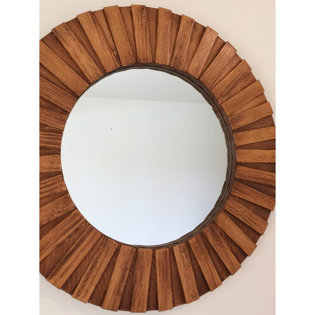 """Not Yet Made - Made To Order Round Wall Mirror Teak Color 26"""" For Sale - Image 5 of 11"""
