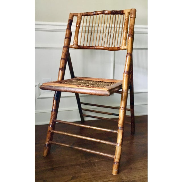 Vintage Tortoise Bamboo Folding Chair For Sale - Image 9 of 9