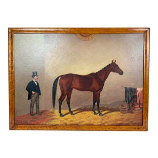 19th Century Equestrian Stall Oil Painting, Framed For Sale