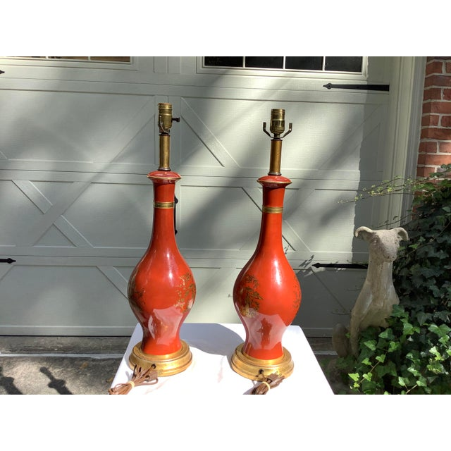 Burnt Orange Frederick Cooper Chinoiserie Lamps, a Pair For Sale - Image 8 of 13