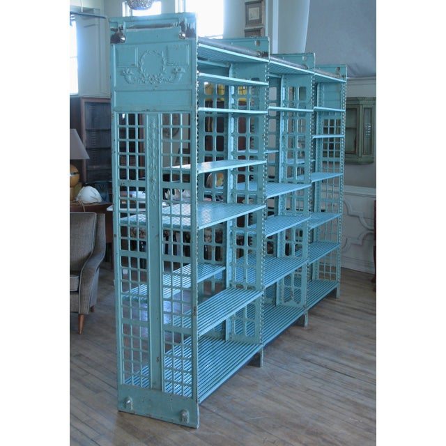 Green Early 20th Century Antique Cast Iron Archival Library Bookcase by Snead For Sale - Image 8 of 8