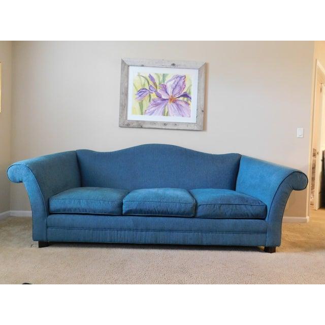 Bernhardt Blue Camel Back Sofa - Image 2 of 4