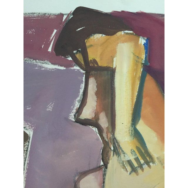 "Abstract 1950s Original Bay Area Figurative Movement Gouache Painting ""Backside"" For Sale - Image 3 of 6"