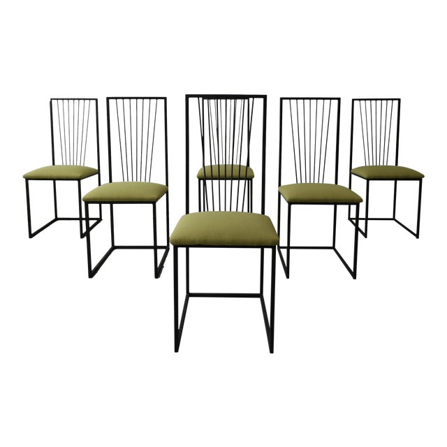 Set of 6 Postmodern Memphis Milano Minimalist Style Dining Chairs For Sale