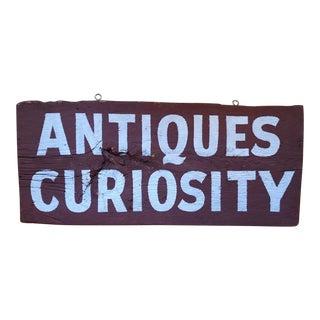 "Vintage ""Antiques Curiosity"" Wood Sign For Sale"