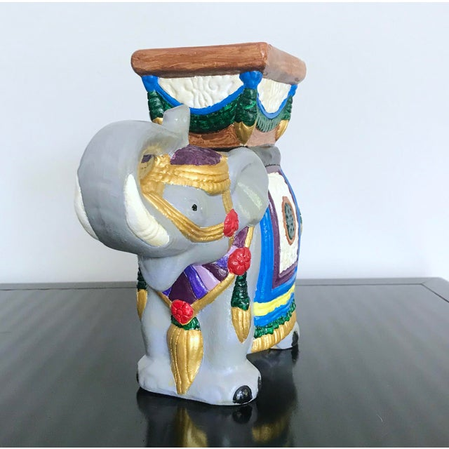 Boho Chic Vintage 1960's Hand-Painted Ceramic Elephant Planter For Sale - Image 3 of 13