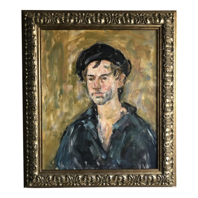Vintage Oil Portrait of a Man on Canvas, Framed For Sale