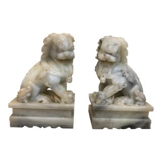 Late 19th Century Chinese Export Marble Foo Lions - a Pair For Sale