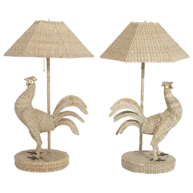 Beige Mario Torres Rooster Table Lamps - A Pair For Sale - Image 8 of 8