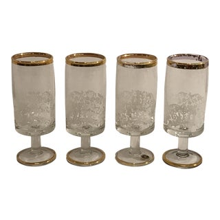 Vintage Italian Gold Trim Cordials - Set of 4