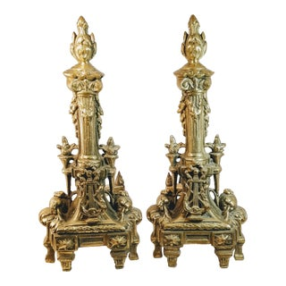 Vintage French Baroque Louis XVI Brass Lyre Torch Column Andirons - a Pair For Sale