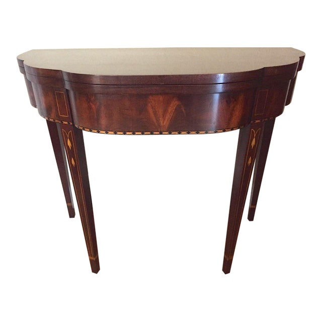 2000s Myers Mahogany Card Table by Henkel Harris #5701 For Sale