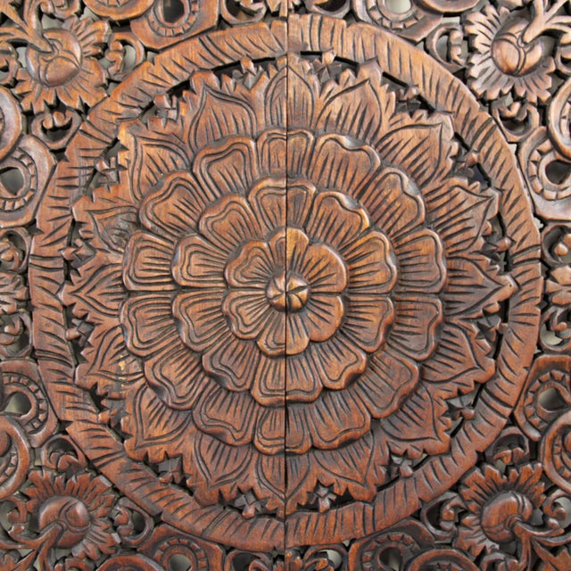 Hand carved teak square panel are a traditionally made by Burmese artisans with intricate floral designs and dark wax...