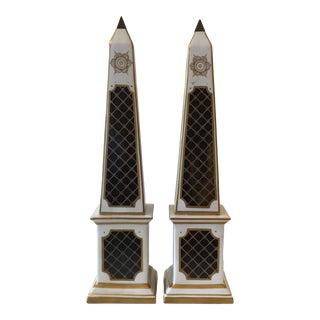 Antique French Signed Porcelain Obelisks - a Pair For Sale