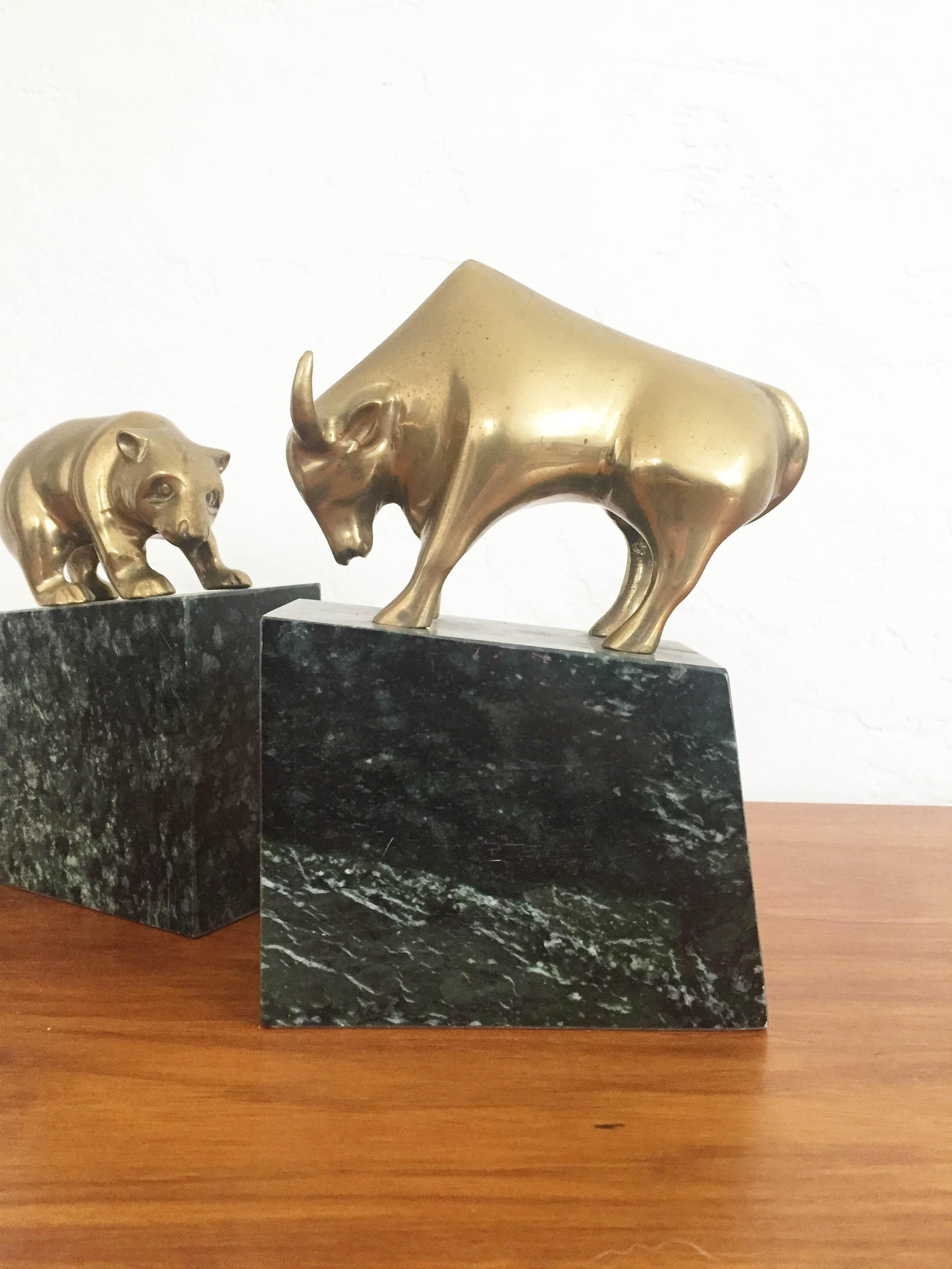Vintage Brass Bear And Bull Bookends On Marble Bases   A Pair For Sale    Image