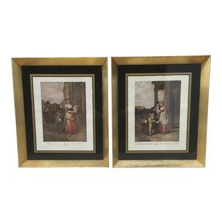 European Prints in Deep Frames - Vintage - Or