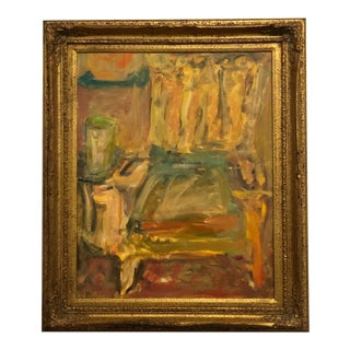 Vintage 70's Modern Framed Abstract Chair Painting For Sale
